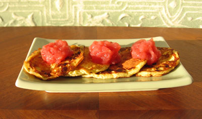 Cottage Cheese Pancakes with Rome Beauty Pink Applesauce