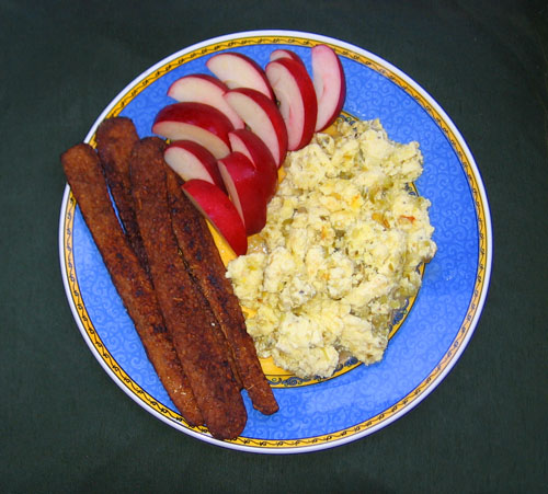 Scrambled Eggs with Tomatillo Salsa and Tempeh Bacon