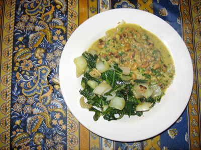 Stir-fried Bok Choy and Turnip Greens with Goan Black-Eyed Pea Curry Over Brown Rice
