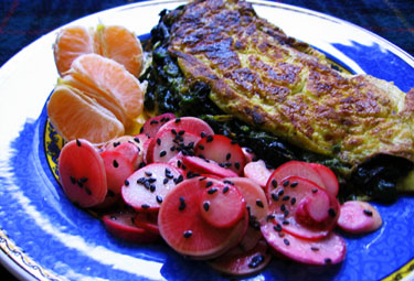 Spinach and Pumpkin Seed Pesto Omelette with Radish Salad and Mandarin Orange