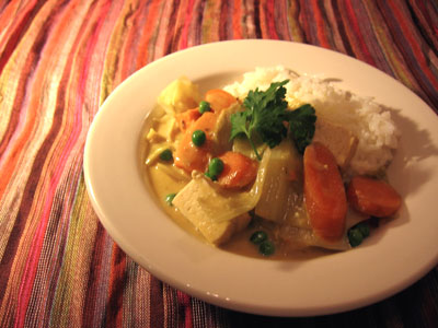 Thai Red Curry with Sweet Potato, Cabbages, Carrots, and Tofu