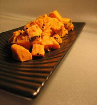 Sweet Potatoes with Chiles, Ginger, and Mustard Seeds