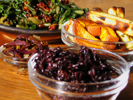 Chard and Walnuts, Sweet Potato Fries, Chard-Onion Balsamic Relish, Forbidden Rice with Tangelo Ginger Sauce