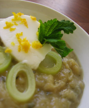 Leek-Potato Soup with Lemon Balm