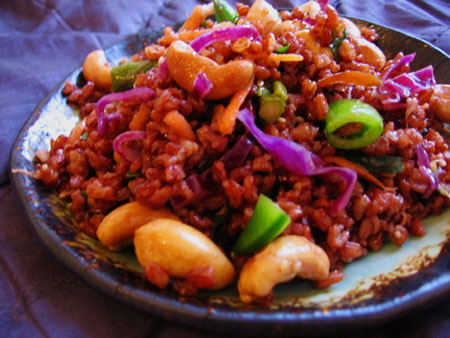 Bhutanese Red Rice Salad with Asparagus, Cabbage, Peas, and Cashews