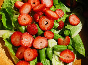 Strawberry salad, before the unfortunate dressing