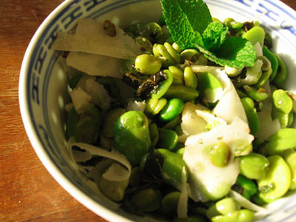 Fava Beans with Mint and Pecorino