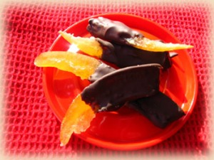 Candied Pomelo Rinds Dipped in Bittersweet Chocolate
