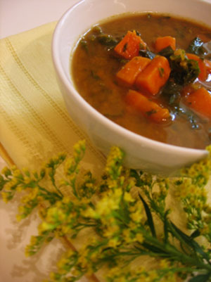 Sweet Potato and Kale Soup with Fennel Seed and Ginger