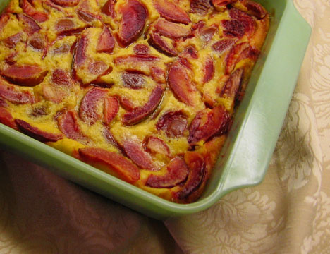 Plum and strawberry clafouti