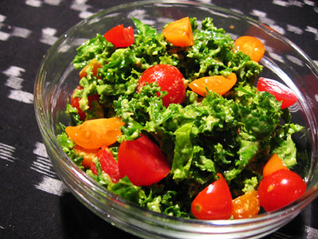 Raw Kale Salad with Avocado & Cherry Tomatoes