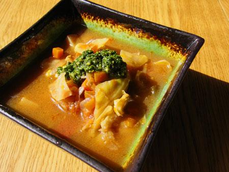 Summer Soup with Vegan Pesto