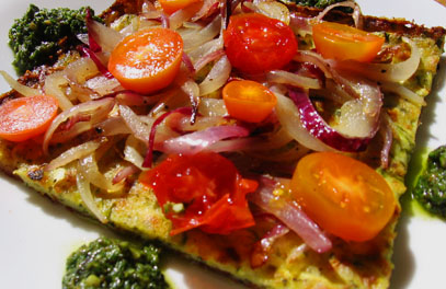 Zucchini-Crust Pizza with Cherry Tomatoes and Red Onions