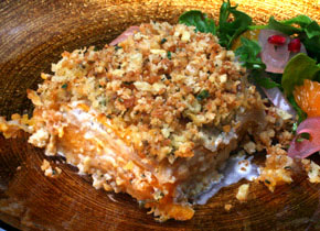 Celery Root and Squash Gratin with Walnut Thyme Streusal (image from CHOW.com)