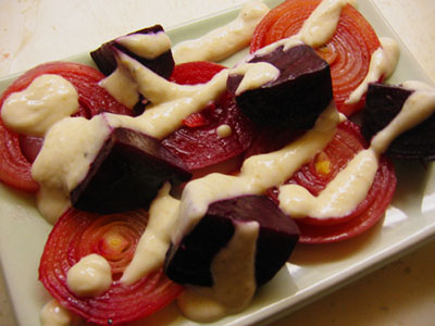 Baked Beets and Onions with Horseradish Sauce