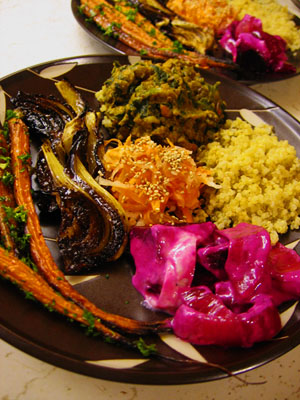 Roasted carrots, balsamic roasted fennel, carrot and daikon salad, baked beets and onion with horseradish sauce, lentil-spinach crock pot curry, and quinoa