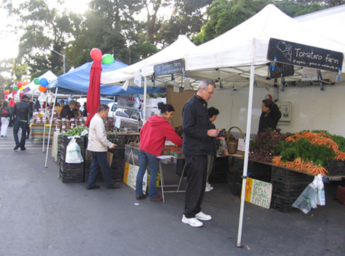 People shopping at the farmer's market