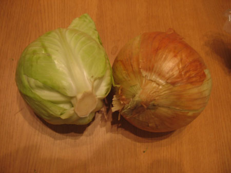 Giant onion, tiny cabbage