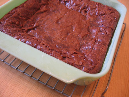 A pan of gluten-free vegan brownies