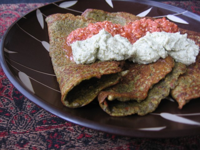 Mung dal pancakes with cashew and tomato-coconut chutneys