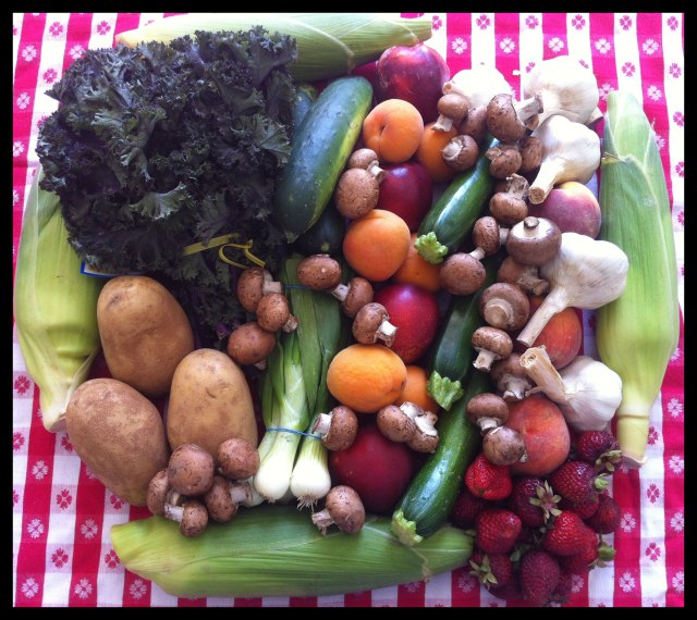 A large rectangle formed from colorful fruits, vegetables & mushrooms, shot from above against a backdrop of red and white checked tablecloth.